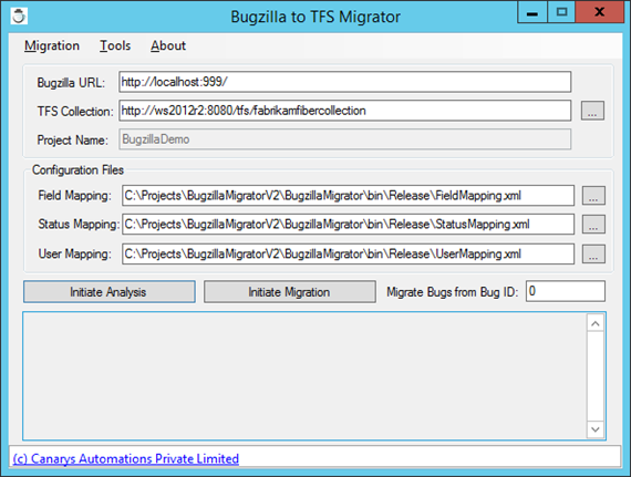 Bugzilla-TFS-Migrator screen