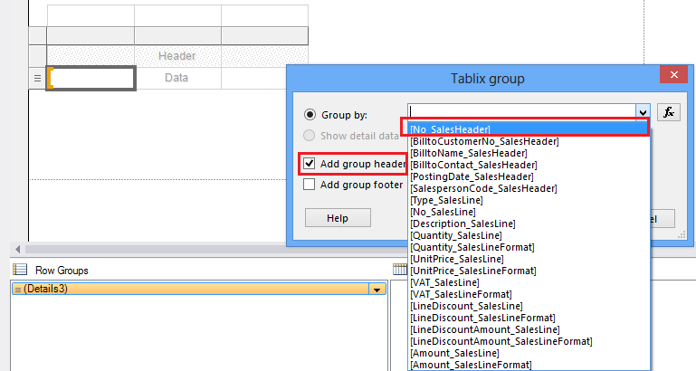 Shows how to add group header with parent grouping to sales line table