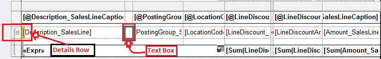 Shows text box added in Details row of the table control.