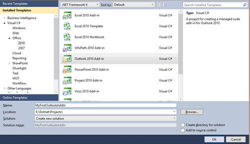 Building an Outlook 2010 Add In Using C# NET With Visual Studio 2010