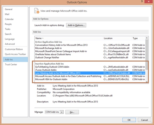 How to enable Lync Addin and create Lync Meetings using the